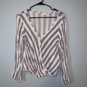 Rebellion -- Striped Surplice Long Sleeve Top